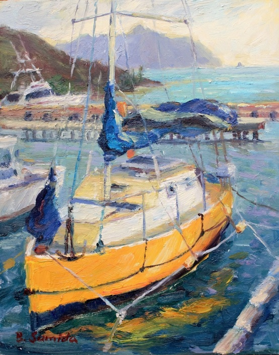 110. Yellow Boat, Heeia 8 x 10 2016 - Copy