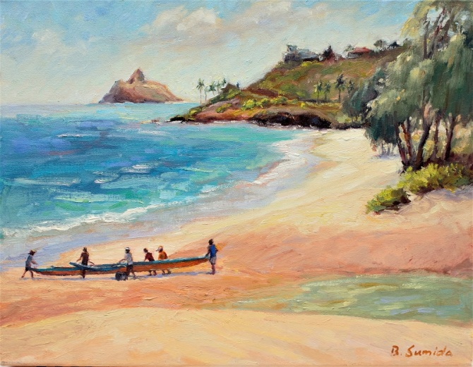 Kailua Out to Launch 14x18 canvas 2017