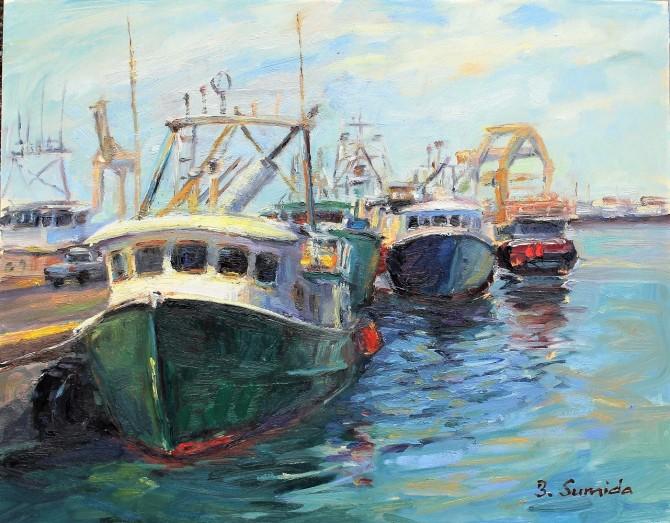 192. Green Boat 11x14 gessobord framed