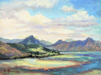 194. He'eia with Passing Clouds 9x12 gessobord