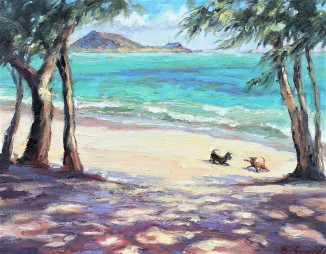 202. Kailua Beach Dog Pals 14x16 canvas