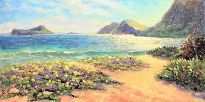 207. Sherwood Beach Morning Glory 12x24 canvas