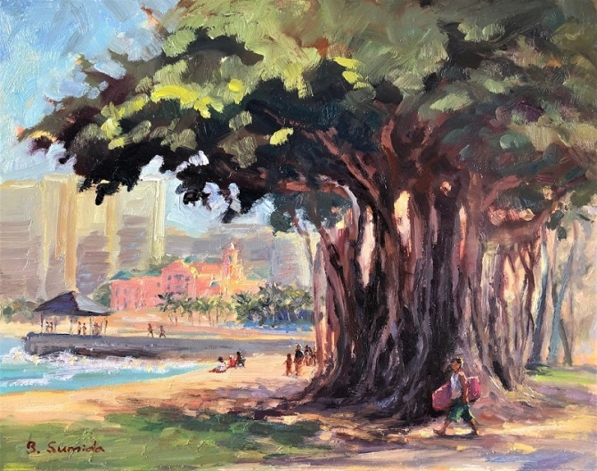 In the Pink. Queen's Beach 11x14 cradled gessobord 2019