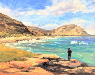 Ma'ili Coast 8x12in. cradled gessobord